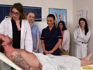 Nurses deepthroating cfnm prick in group dominance